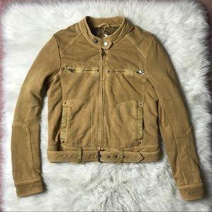 Free People Mustard Cotton Moto Jacket